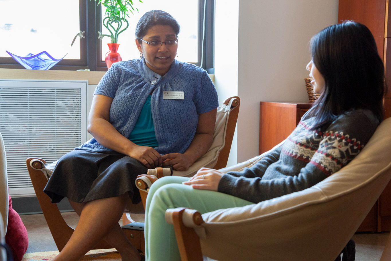 A student participates in a counseling session