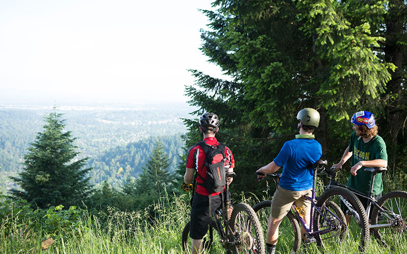 Three students stop to enjoy the view from the top of a hill on a mountain bike ride.